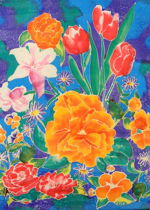 Silk Painting Greeting Card featuring the painting Silk Blooming Flowers by Sandra Fox