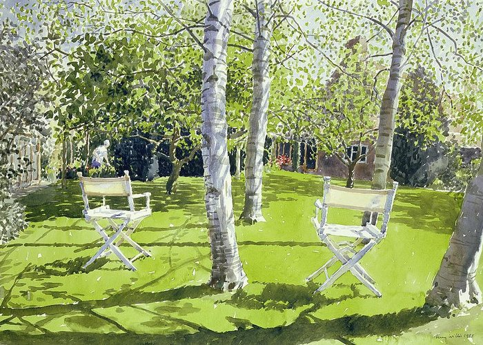 Garden; Deck Chair; Summer; Lawn; Birch; Bouleau; Bouleaux; Chairs; Deck Chairs; Tree; Trees; Bush; Bushes; Birches; House; Backyard; Leaf; Leafs; Leafy; Green; Grass Greeting Card featuring the painting Silver Birches by Lucy Willis