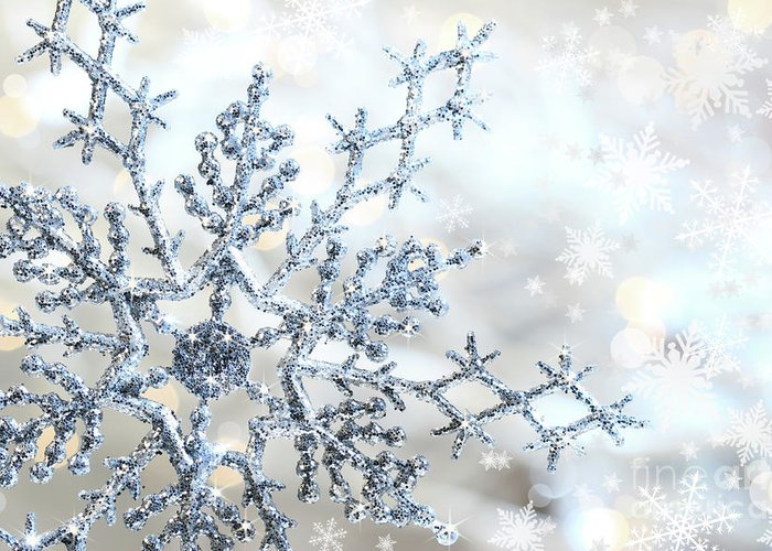 Background Greeting Card featuring the photograph Silver Blue Snowflake by Sandra Cunningham