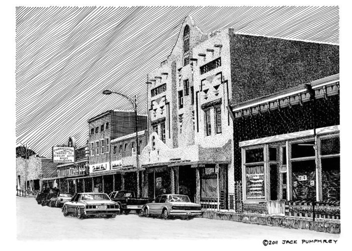A Pen & Ink Drawing Of Burrard Street In Silver City Greeting Card featuring the drawing Silver City New Mexico by Jack Pumphrey
