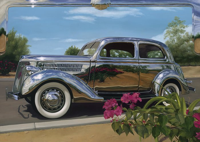 1936 Ford Greeting Card featuring the painting Silver Dream by Lucretia Torva