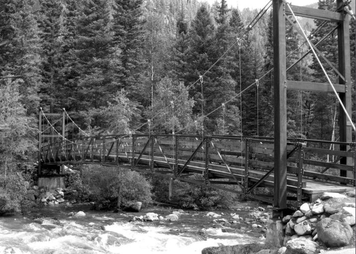 Black And White Greeting Card featuring the photograph Silverton Bridge by Amara Roberts