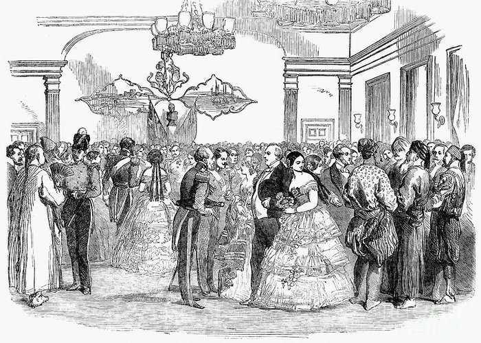 1854 Greeting Card featuring the photograph Singapore: Ball, 1854 by Granger