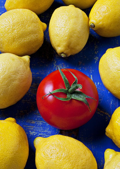 Single Tomato Greeting Card featuring the photograph Single Tomato With Lemons by Garry Gay