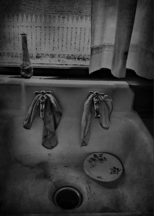 Sink Greeting Card featuring the photograph Sinking Tears by Empty Wall