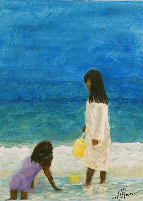 Beach Greeting Card featuring the painting Sisters by Maureen House