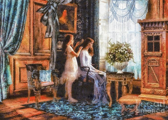 Sisters Greeting Card featuring the painting Sisters by Mo T