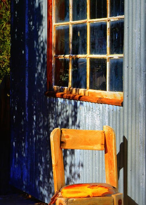 Chair Greeting Card featuring the photograph Sit A Minute by Diane montana Jansson