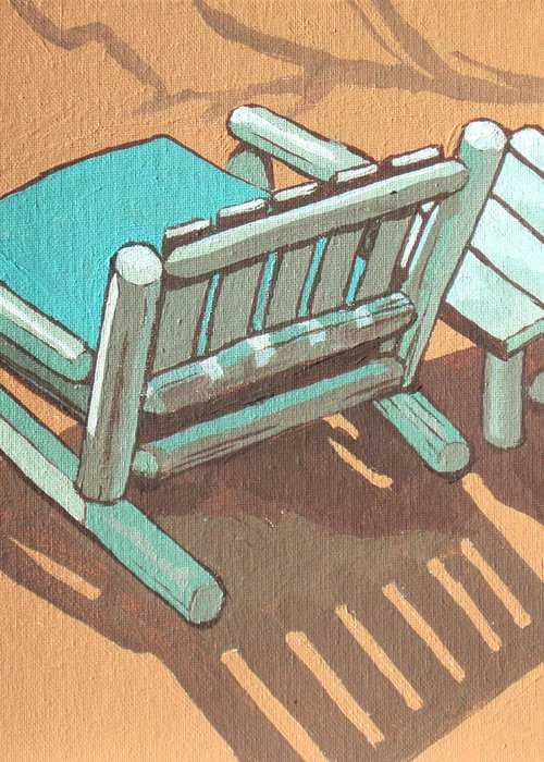Chair Greeting Card featuring the painting Sit Back And Relax by Sandy Tracey