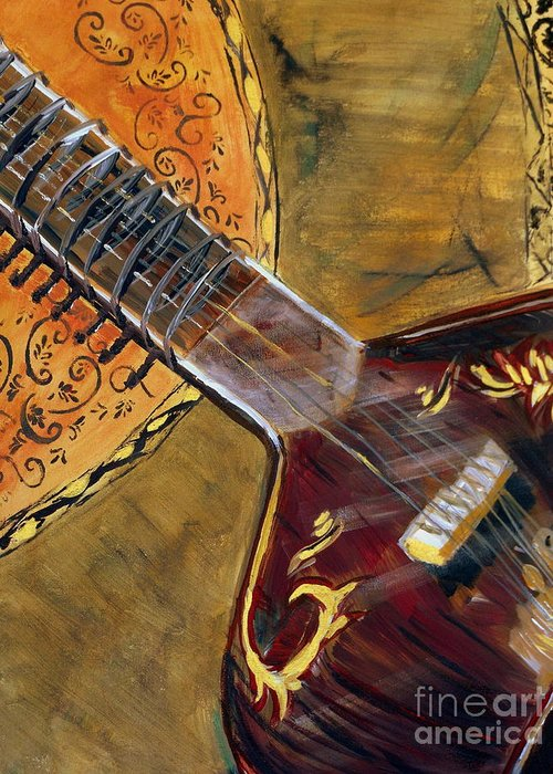 Sitar 3 Greeting Card featuring the painting Sitar 3 by Amanda Dinan