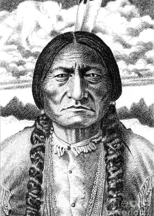 Jim Bridger Greeting Card featuring the drawing Sitting-bull by Gordon Punt