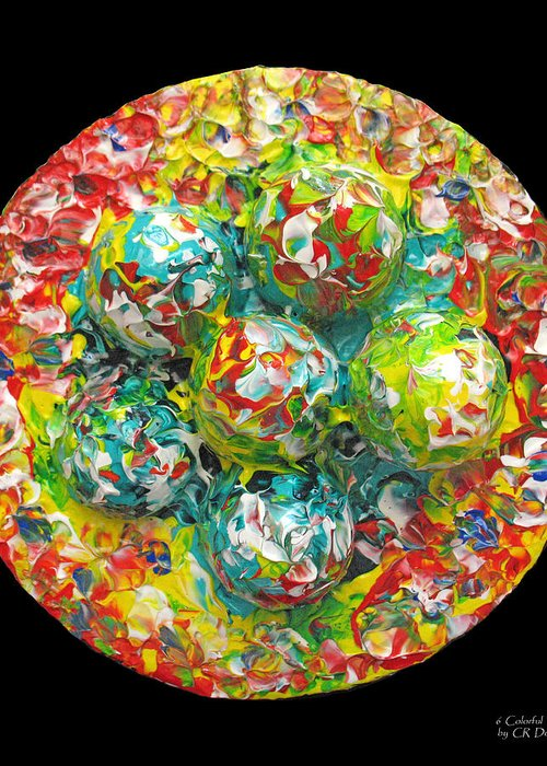 Original Greeting Card featuring the painting Six Colorful Eggs On A Circle by Carl Deaville