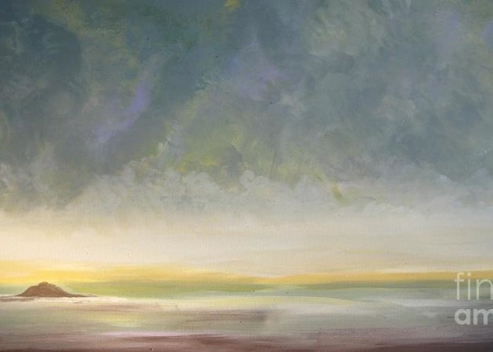 Skaket Beach Greeting Card featuring the painting Skaket - Waiting On The Storm by Jacqui Hawk