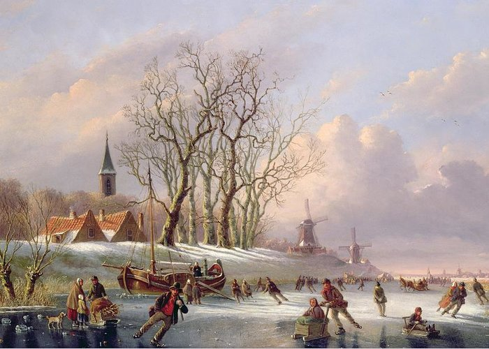 Winter Greeting Card featuring the painting Skaters On A Frozen River Before Windmills by Dutch School
