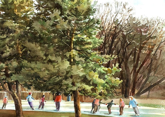 Peter Sit Watercolor Greeting Card featuring the painting Skaters by Peter Sit