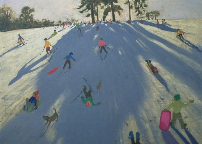 Hill Greeting Card featuring the painting Skiing by Andrew Macara