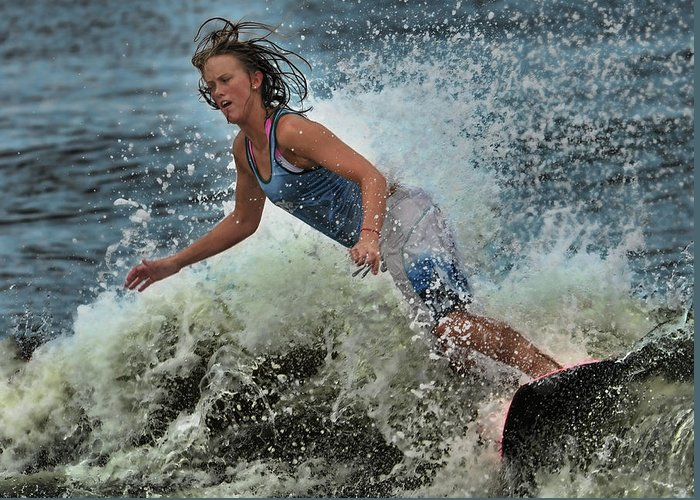 Skimboarding Greeting Card featuring the photograph Skimmer Girl 1 by Wade Aiken