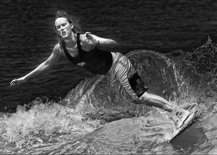 Skimboarding Greeting Card featuring the photograph Skimmer Girl 2 Black And White by Wade Aiken