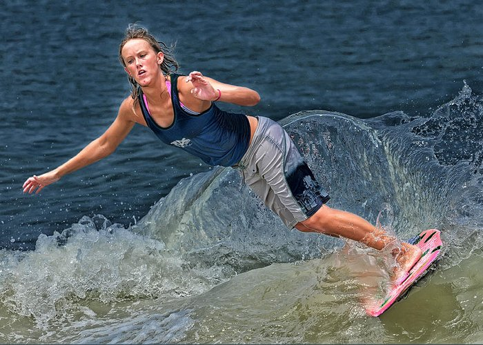 Skimboarding Greeting Card featuring the photograph Skimmer Girl 2 by Wade Aiken