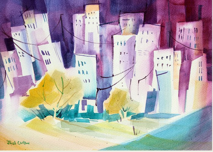 Cityscape Greeting Card featuring the painting Skip To The City. by Josh Chilton
