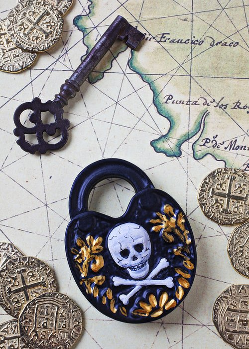 Lock Greeting Card featuring the photograph Skull And Cross Bones Lock by Garry Gay