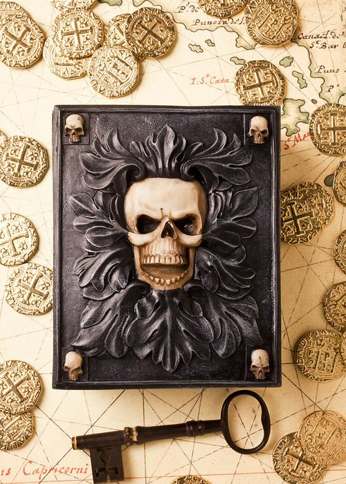 Skull Box Greeting Card featuring the photograph Skull Box With Skeleton Key by Garry Gay