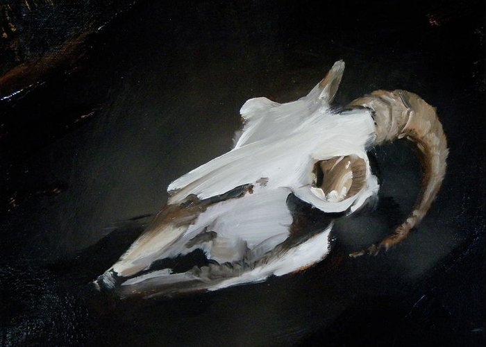 Horned Greeting Card featuring the painting Skull Of Goat by Roger Clark