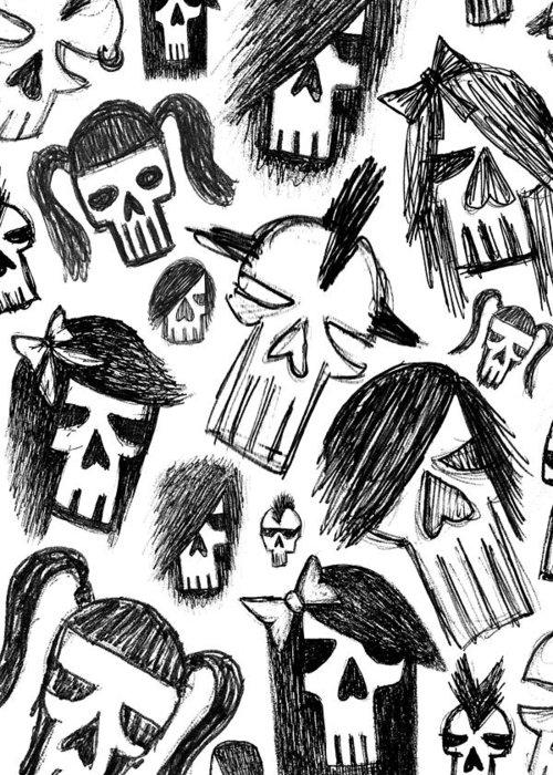 Skulls Greeting Card featuring the digital art Skull Sketches 4 Of 6 by Roseanne Jones