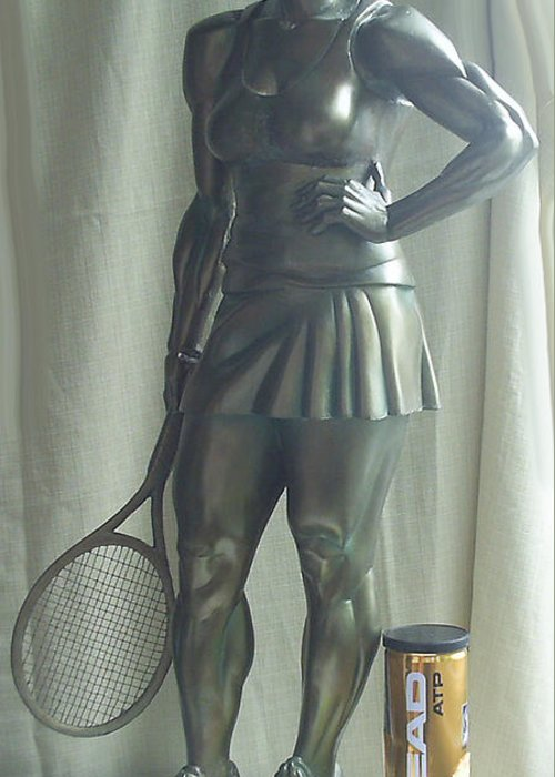 Original Skulpture Tennis Player Sport Greeting Card featuring the sculpture Skupture Tennis Player by Zlatan Stoilov