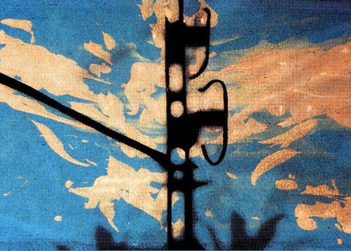 Serigraph Greeting Card featuring the digital art Sky - Travel Serigraphic Art by Arte Venezia