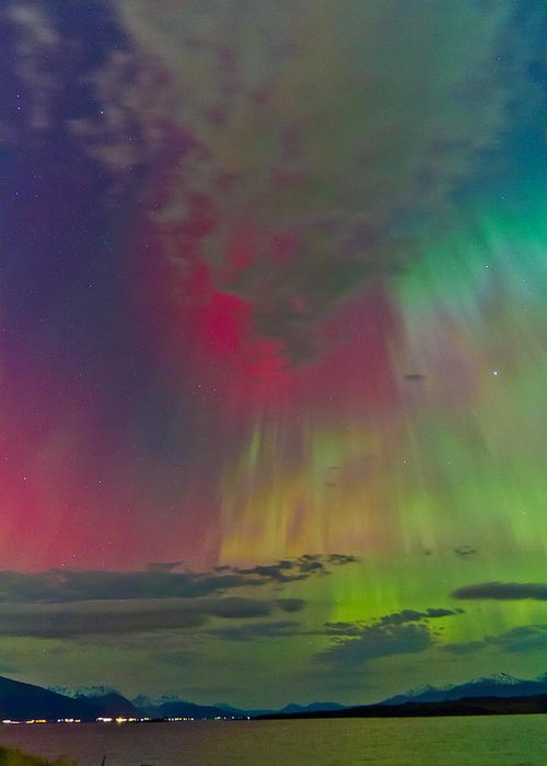Aurora Borealis Greeting Card featuring the photograph Sky Full Of North Light by Frank Olsen