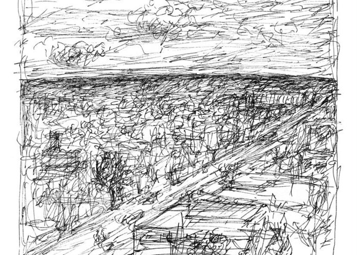Landscape Greeting Card featuring the drawing Skyline Sketch by Elizabeth Carrozza