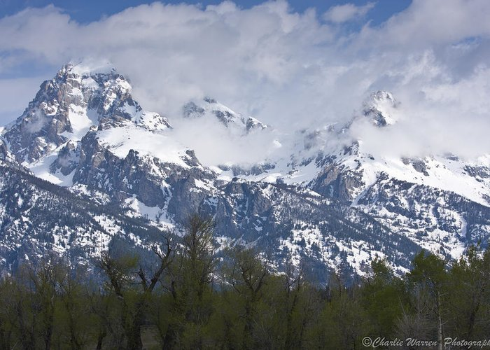 Grand Tetons Greeting Card featuring the photograph Skyscapers by Charles Warren