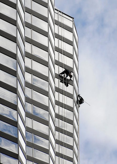 Chicago Greeting Card featuring the photograph Skyscraper Window-washers - Take A Walk In The Clouds by Christine Till