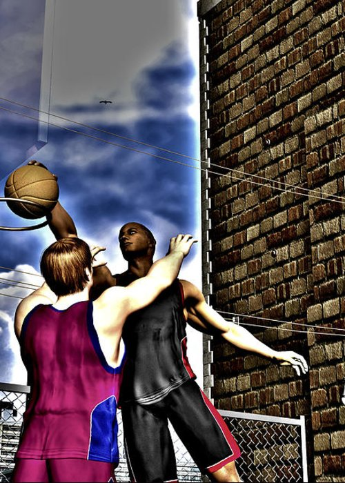 Basketball Greeting Card featuring the digital art Slammed by Michael Stowers
