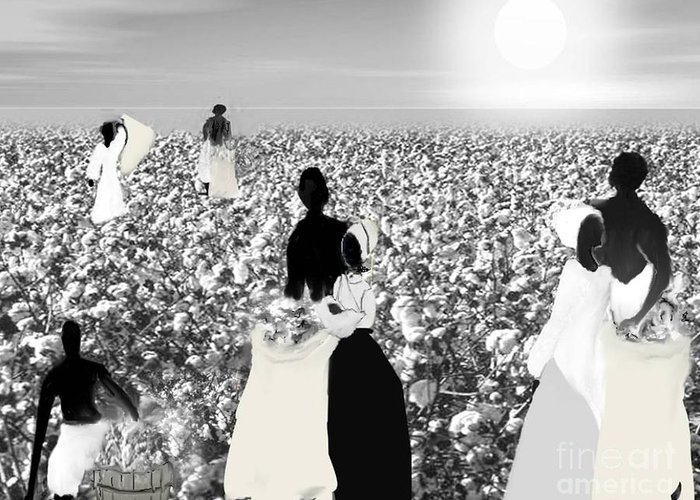 Black History Greeting Card featuring the digital art Slaves Picking Cotton by Belinda Threeths