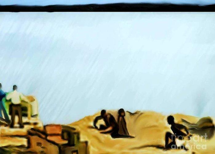 Black History Greeting Card featuring the digital art Slaves Waiting For Ship by Belinda Threeths