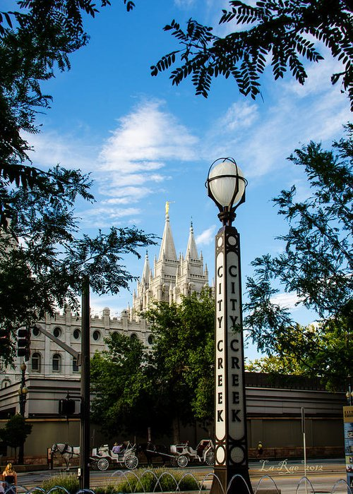 Mormon Temple Photography Greeting Card featuring the photograph Slc Temple City Creek by La Rae Roberts
