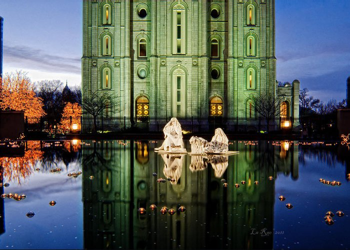 Christmas Photography Greeting Card featuring the photograph Slc Temple Nativity by La Rae Roberts