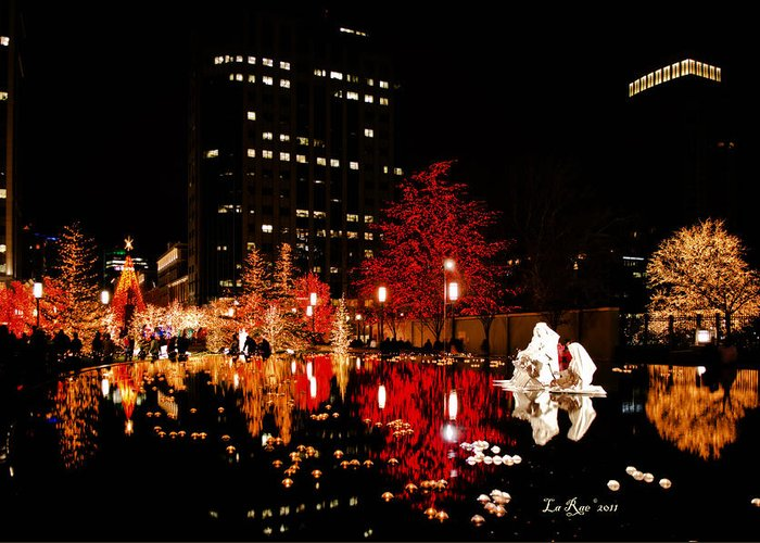 Slc Temple Photography Greeting Card featuring the photograph Slc Temple Nativity Pond by La Rae Roberts