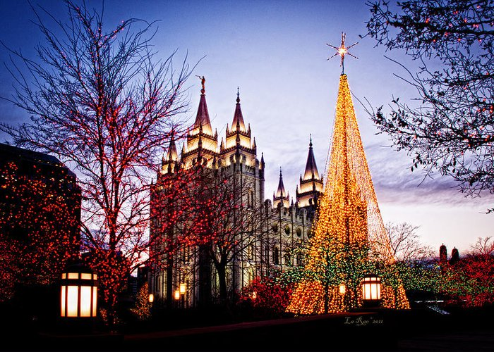 Templephotographs Greeting Card featuring the photograph Slc Temple Tree Light by La Rae Roberts