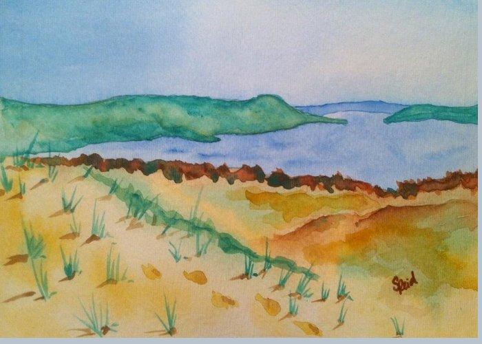 Sleeping Bear Dunes Greeting Card featuring the painting Sleeping Bear Dunes by Stephanie Reid