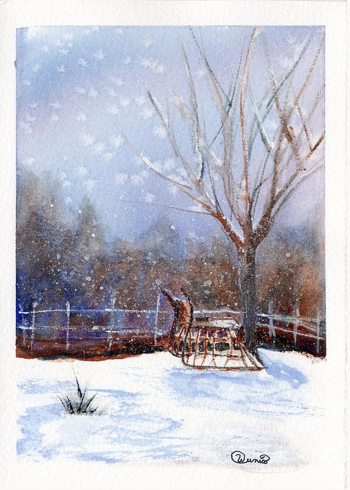 Sleigh Greeting Card featuring the painting Sleigh Ride by Wendy Cunico