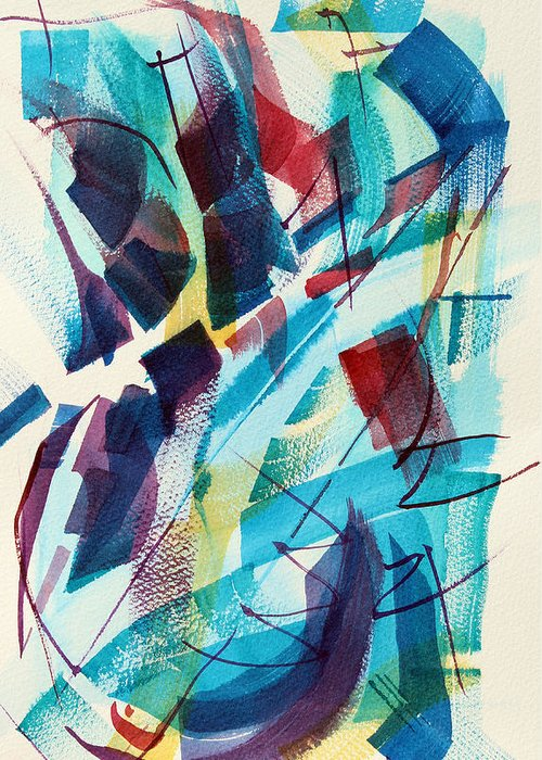 Watercolor Abstract Greeting Card featuring the painting Slice. by Josh Chilton