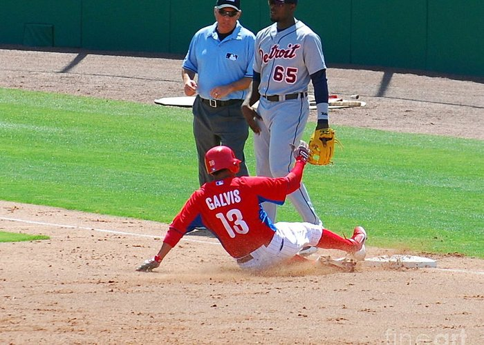 Philadelphia Phillies Greeting Card featuring the photograph Sliding To 3rd by Carol Christopher