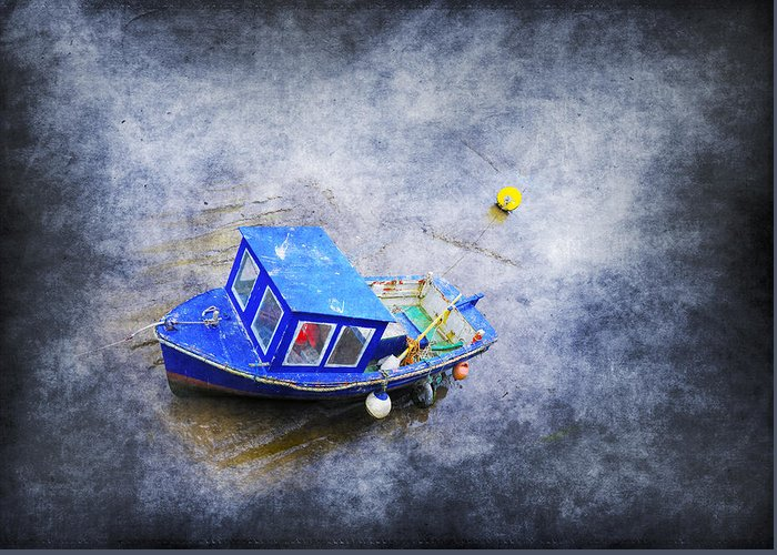 Anchored Greeting Card featuring the photograph Small Fisherman Boat by Svetlana Sewell