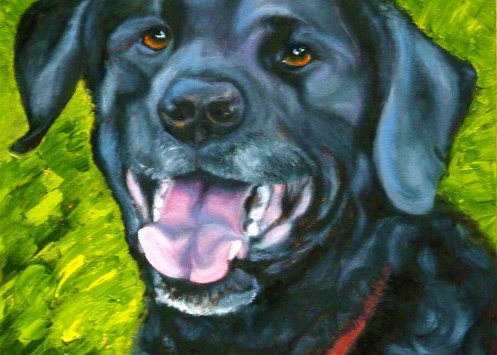 Dog Greeting Card featuring the painting Smiling Lab by Susan A Becker