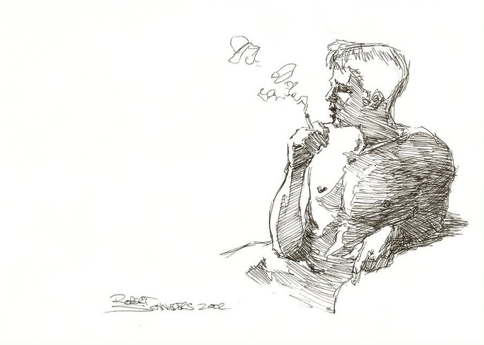 Male Greeting Card featuring the drawing Smoking by Robert Schnieders