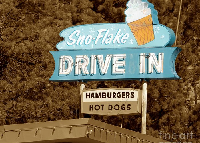 Lake Tahoe Greeting Card featuring the photograph Sno-flake Drive In Lake Tahoe by Jim And Emily Bush