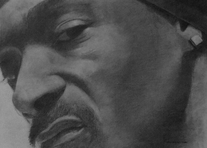 Portrait Greeting Card featuring the drawing Snoop Dogg by Glenn Daniels